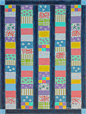 Block Quilts Painting - Coin Quilt -  Painting - Multicolored Patches by Barbara Griffin