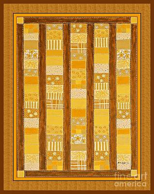 Quilt Blue Blocks Painting - Coin Quilt -  Painting - Yellow Patches by Barbara Griffin