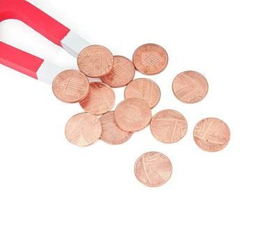 Coins Attracted By Horseshoe Magnet Art Print by Dorling Kindersley/uig