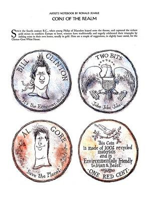 Bill Clinton Wall Art - Drawing - Coins Of The Realm by Ronald Searle