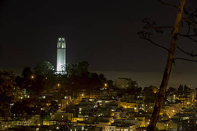 Coit Tower By Night Art Print
