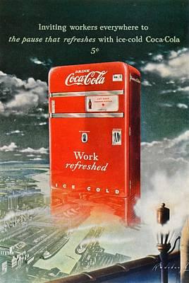 Cocacola Digital Art - Coke - Coca Cola Vintage Advert by Georgia Fowler