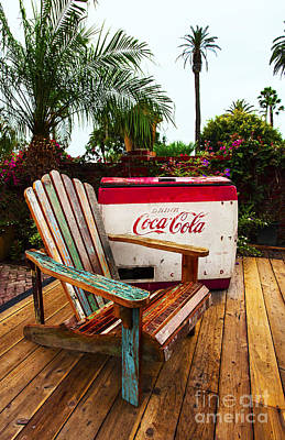 Photograph - Vintage Coke Machine With Adirondack Chair by Jerry Cowart