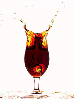Pouring Wine Digital Art - Coke Splashing In The Cup Liquid Art by Paul Ge