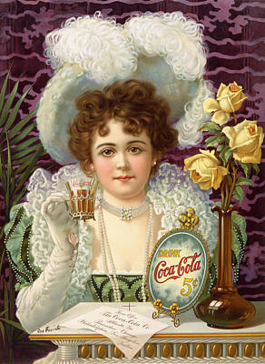 Edwardian Woman Digital Art - Cola Cola 5 Cents by Georgia Fowler