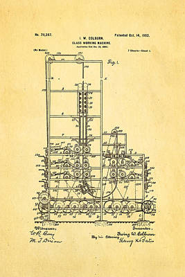 Brickie Photograph - Colburn Flat Glass Working Machine Patent Art 1902 by Ian Monk