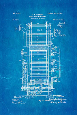 Glazier Photograph - Colburn Flat Glass Working Machine Patent Art 2 1902 Blueprint by Ian Monk