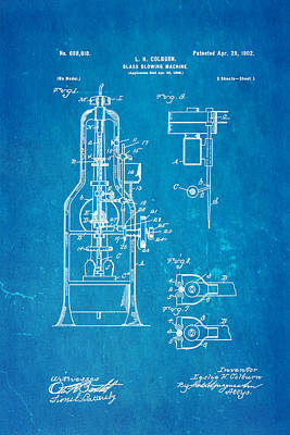 Glazier Photograph - Colburn Glass Blowing Machine Patent Art 1902 Blueprint by Ian Monk