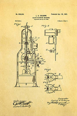 Colburn Glass Blowing Machine Patent Art 1902 Art Print by Ian Monk