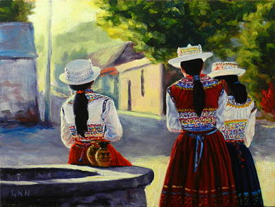 Colca Valley Ladies, Peru Impression Art Print