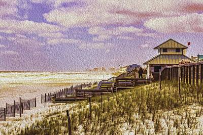 Waterfront - Coastal - Cold And Windy At The Beach Art Print by Barry Jones