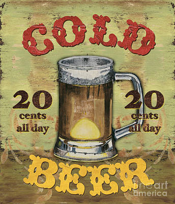 Restaurant Signs Painting - Cold Beer by Debbie DeWitt