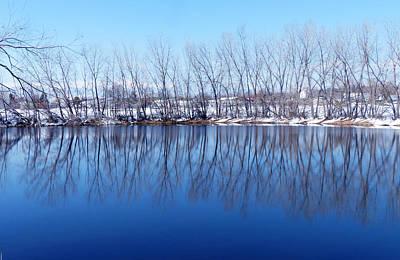Photograph - Cold Blue Pond Reflection by Thomas Samida