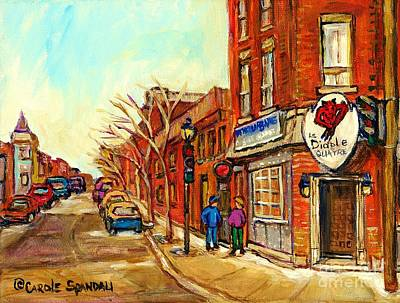 Montreal Painting - Cold Day In The Pointe Strolling By Taverne Urbaine Le Diable A Quatre Montreal Winterscene   by Carole Spandau