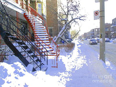 Wellington Street Painting - Cold Day In Verdun Snow Covered Steps Montreal Street Scene Art Carole Spandau by Carole Spandau
