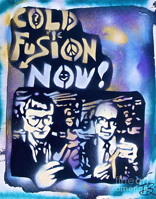 Free Speech Painting - Cold Fusion Now Blue by Tony B Conscious