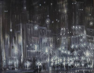 Chicago At Night Painting - Cold Hard Streets by Tom Shropshire