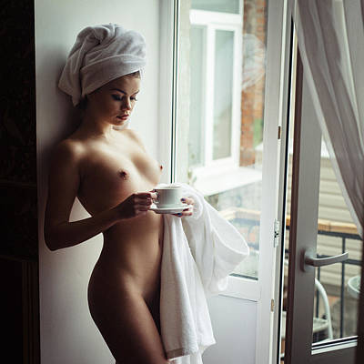 Nude Photograph - Cold Morning And Hot Coffee by Elizaveta Shaburova