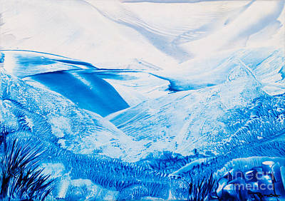 Encaustic Painting - Cold Mountains Wax Painting by Simon Bratt Photography LRPS