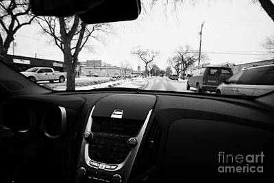 Cold Temperature Reading On Dashboard Driving Along Snow Covered Streets Saskatoon Saskatchewan Cana Art Print