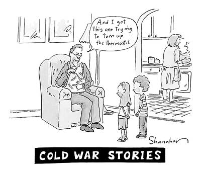 War Drawing - Cold War Stories. An Old Man Shows Children Scars by Danny Shanahan