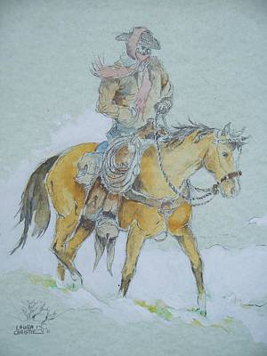 Cold Weather Cowboy Art Print