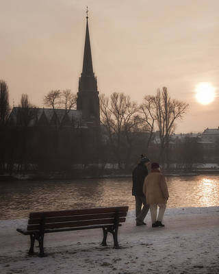 Skyline Photograph - Cold Winter Light by Joan Carroll