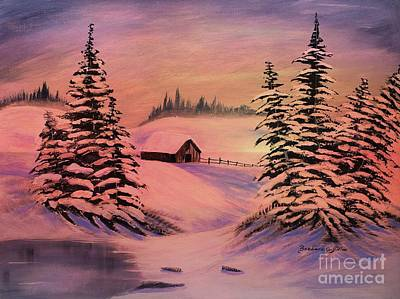 Sun Casting Shadow Painting - Cold Winter Sunset by Barbara Griffin