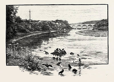Toll House Drawing - Coldstream Bridge, From Up-stream. Coldstream Bridge by English School