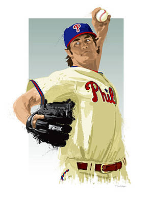 Baseball. Philadelphia Phillies Digital Art - Cole Hamels by Scott Weigner