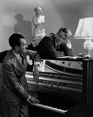 Statue Portrait Photograph - Cole Porter And Moss Hart At A Piano by Lusha Nelson