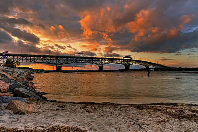 Coleman Bridge At Sunset Art Print by Jerry Gammon