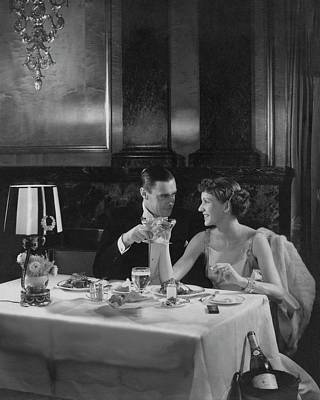 Alcohol Photograph - Colin Clive And Rose Hobart At Waldorf by Edward Steichen