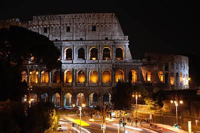 Ancient Rome Photograph - Coliseum At Night by David Waldo
