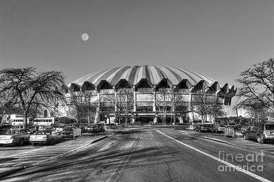 Art Print featuring the photograph Coliseum B W With Moon by Dan Friend