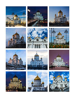 Tryptich Photograph - Collage - Cathedral Of Christ The Savior Of Moscow - Russia - Featured 3 by Alexander Senin
