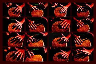 Drummer Photograph - Collage Drum Bang Boom - Red by Alexander Senin