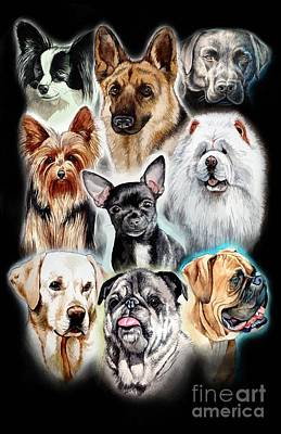 Painting - Collage Of Dogs By Christopher Shellhammer by Christopher Shellhammer