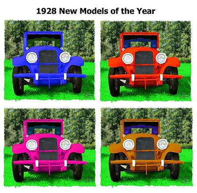 Blue Painting - Collage Of New Model 1928 Cars by Bruce Nutting