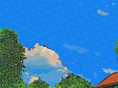 Red Roof Mixed Media - Collage Painted Cloud Cover by Skyler Tipton