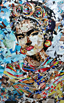 Mexican Decoration Painting - Collage Painting Frida Kahlo by Irina Bast
