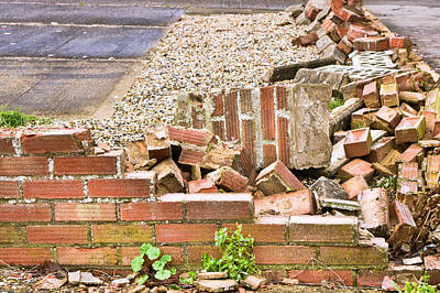 Rubble Photograph - Collapsed Brick Wall by Tom Gowanlock