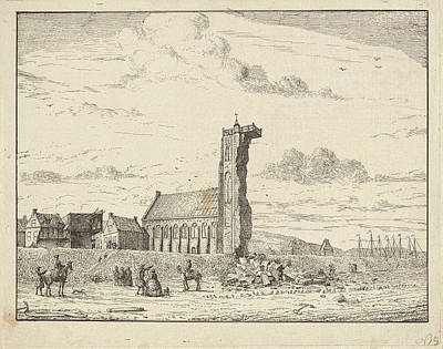 Collapsed Tower At Egmond-aan-zee, 1741, The Netherlands Art Print by Artokoloro