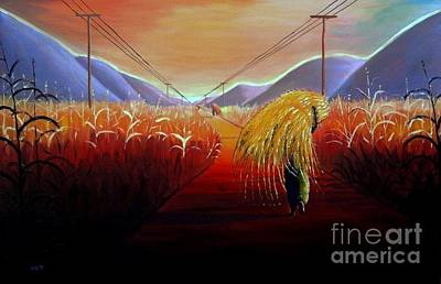 Malawi Painting - Collecting Grass For Roofing by Nisty Wizy