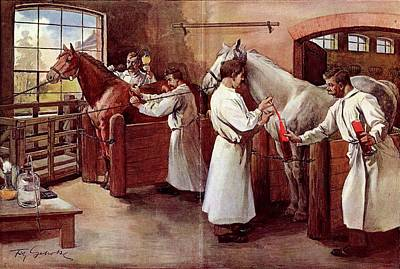 Collecting Horse Blood Art Print by National Library Of Medicine