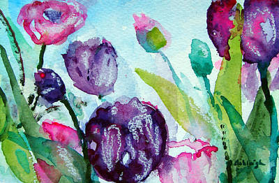 Tulips Painting - Collecting Pink And Purple Tulips by Ashleigh Dyan Bayer