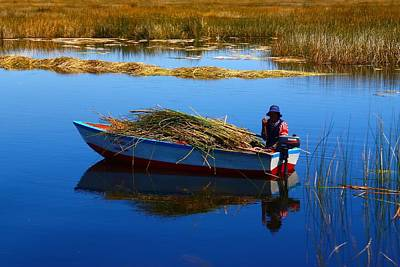 Peru Photograph - Collecting Reeds by FireFlux Studios