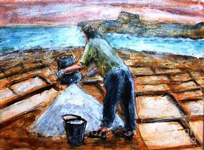 Painting - Collecting Salt At Xwejni Gozo by Marco Macelli