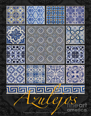 Collection Of Blue Colored Portuguese Tile-works Art Print by Heiko Koehrer-Wagner