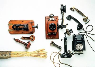 Collection Of Early Telephones Art Print by Dorling Kindersley/uig
